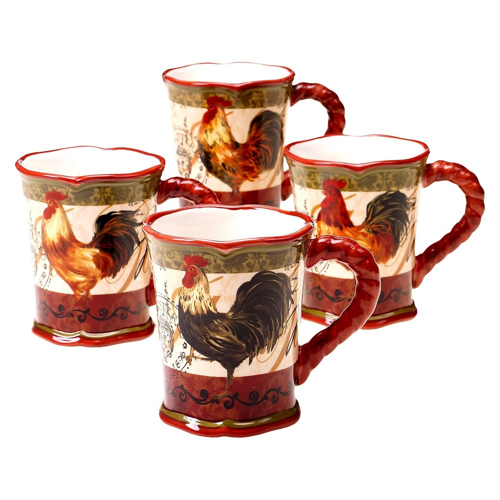 Certified Intl Certified  Tuscan Rooster Mug Set of 4 (16 oz.)