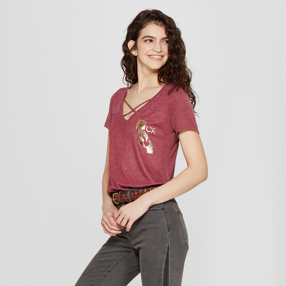 Women's Short Sleeve CA Love Graphic T-Shirt - Awake Burgundy XL, Red