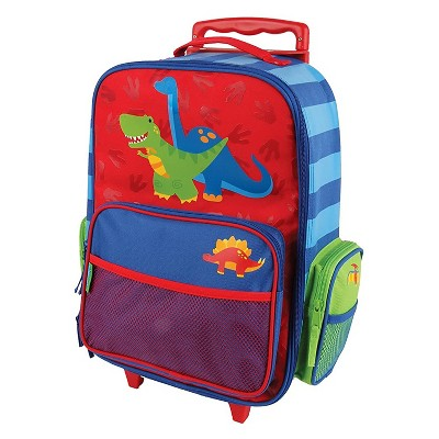 Stephen Joseph Fun Kids Themed Classic Rolling Luggage Polyester Carry On Suitcase with Multiple Pockets and Extendable Handle, Dinosaur