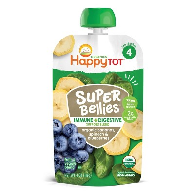 HappyTot Super Bellies Organic Bananas Spinach & Blueberries Baby Food Pouch - 4oz