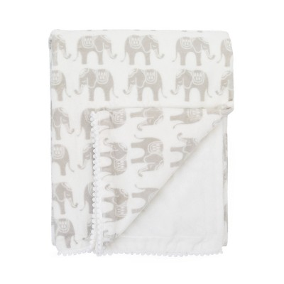 NoJo Serendipity Ivory Elephant Print Plush Baby Blanket