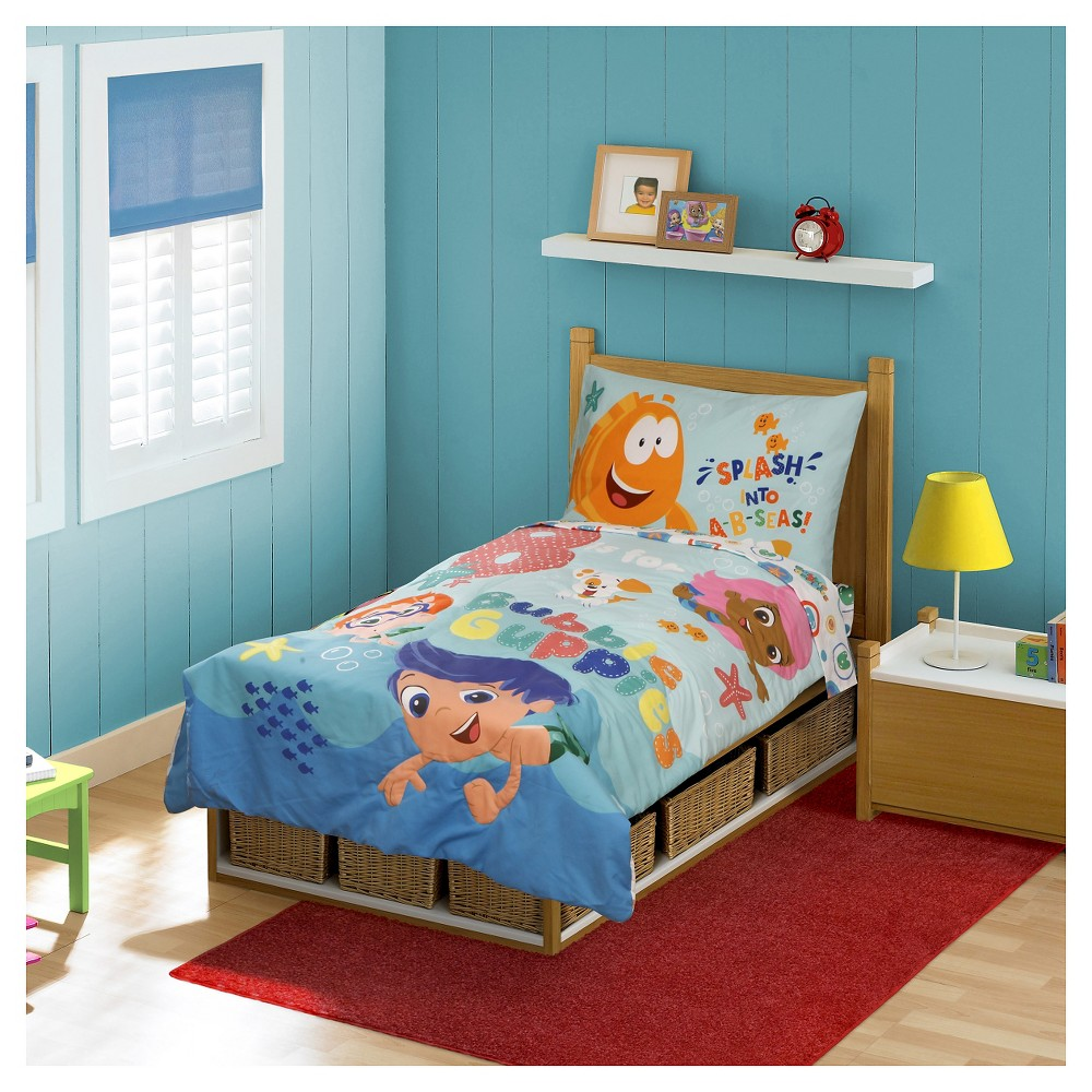 Bubble Guppies 4 Pc Toddler Bed Set - Multi-Colored
