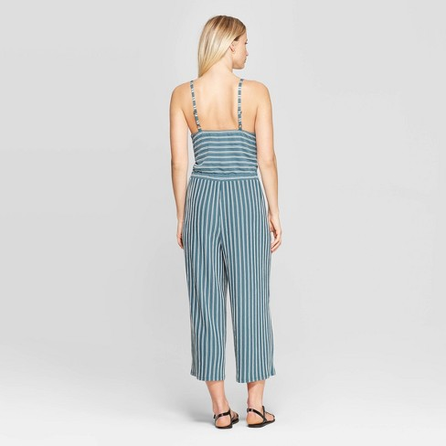 f4237d25a46 Women s Striped V-Neck Strappy Knit Cropped Jumpsuit - Xhilaration™   Target