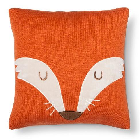 "14""X14"" Fox Square Throw Pillow Orange - Pillowfort™ - image 1 of 4"