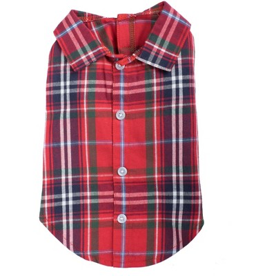 The Worthy Dog Flannel Plaid Button Up Look Pet Shirt
