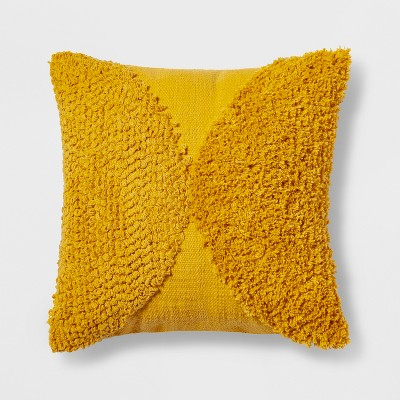 Tufted Half Circle Square Throw Pillow Yellow - Project 62™