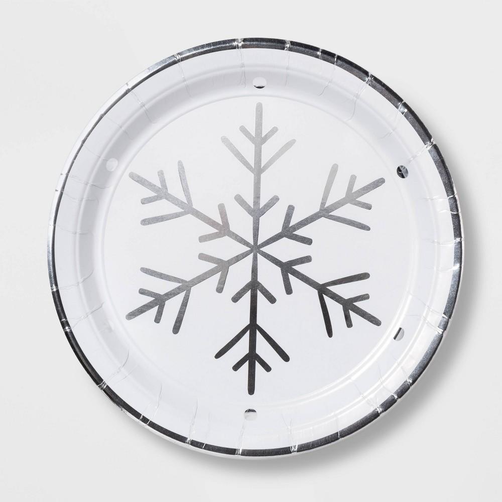 "Image of ""10.5"""" 12ct Silver Snowflake Disposable Round Plates Foil - Wondershop"""