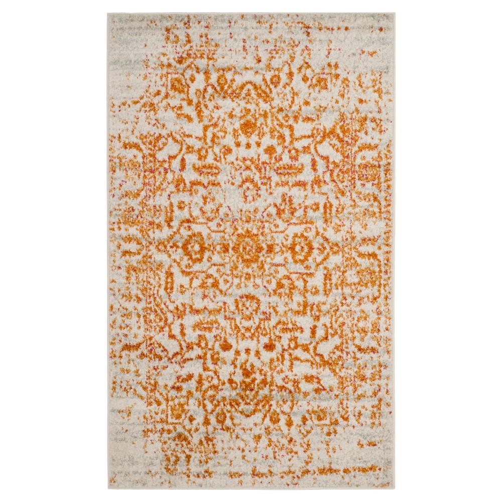 Cream/Orange Solid Loomed Area Rug - (4'X6') - Safavieh, Beige