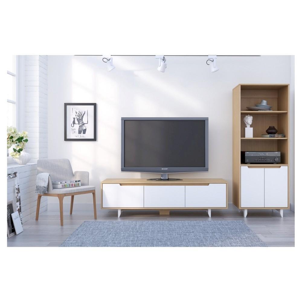 Malibu Entertainment Kit with TV Stand and Audio Tower -60 - Natural Maple (Brown) & White - Nexera