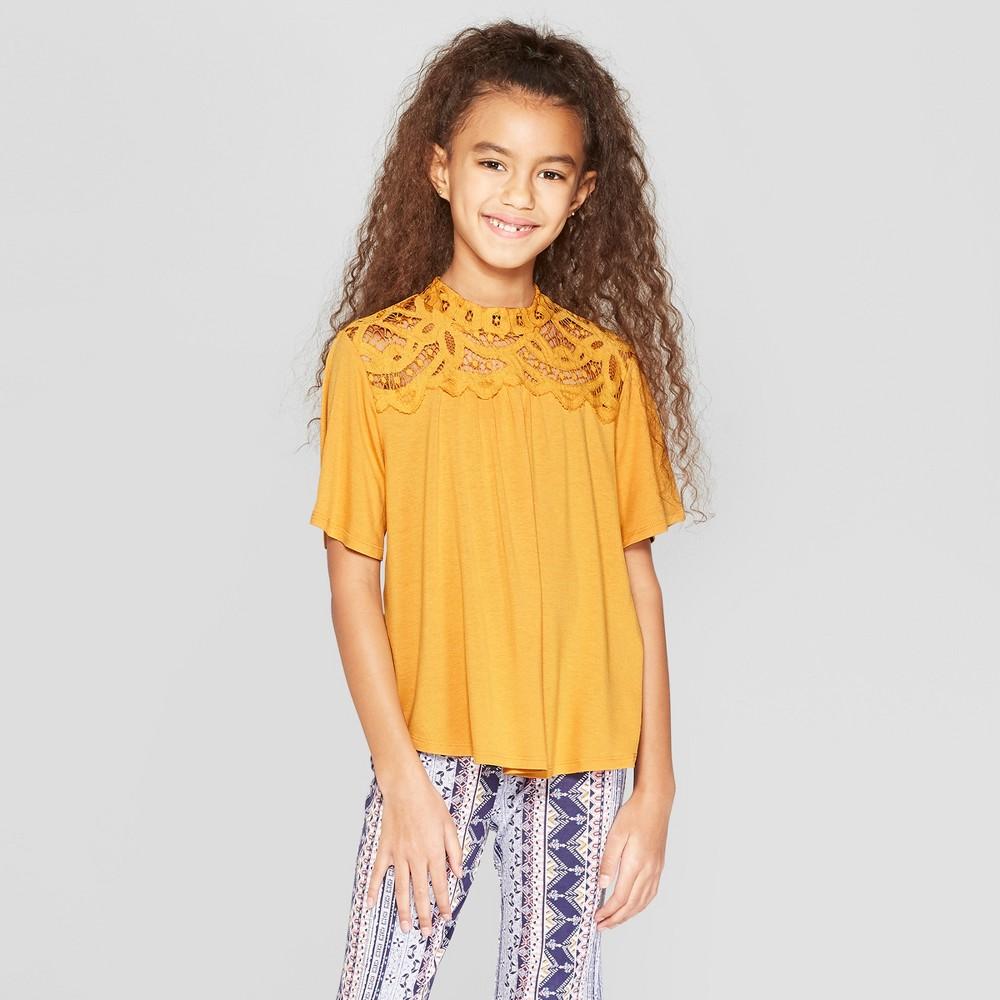 Girls' Crochet Mock Neck Short Sleeve Top - art class Gold XS