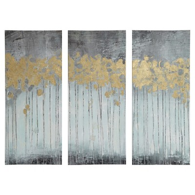 "(Set of 3)15"" x 35"" Evening Forest Gel Coat Canvas with Gold Foil Embellishment Gray"