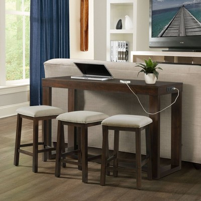 Drew Multipurpose Bar Dining Table Set Dark Walnut - Picket House Furnishings
