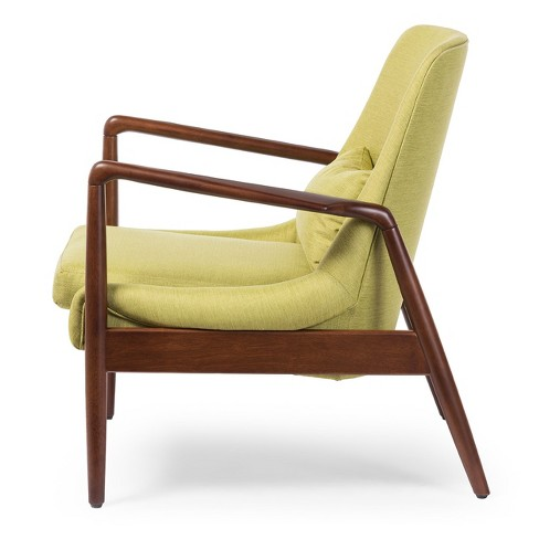 Carter Mid Century Modern Retro Fabric Upholstered Leisure Accent Chair In Walnut Wood Frame Green Baxton Studio Target