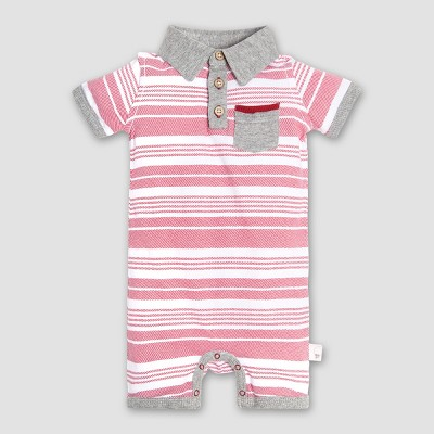 Burt's Bees Baby® Boys' Organic Cotton Faux Twill Shortall - Red 3-6M