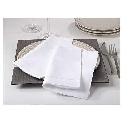 Hemstitched Dinner Napkins White (Set of 4)