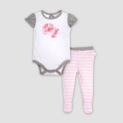 Burt's Bees Baby® Baby Girls' Organic Cotton Butterfly Escape Bodysuit & Footed Pant Set - Pink Blossom Newborn