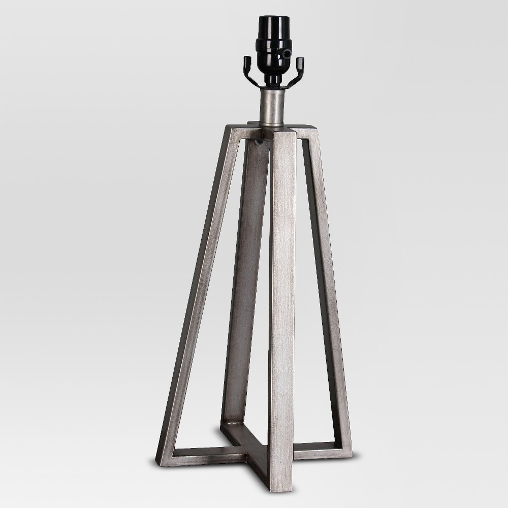 Image of Brushed Linear Large Lamp Base Silver (Includes Energy Efficient Light Bulb) - Threshold