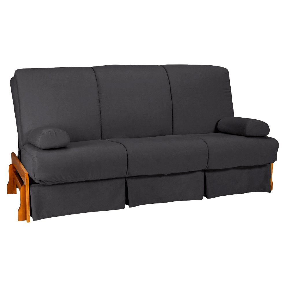 Low Arm Perfect Futon Sofa Sleeper Oak Wood Finish Slate Gray - Epic Furnishings