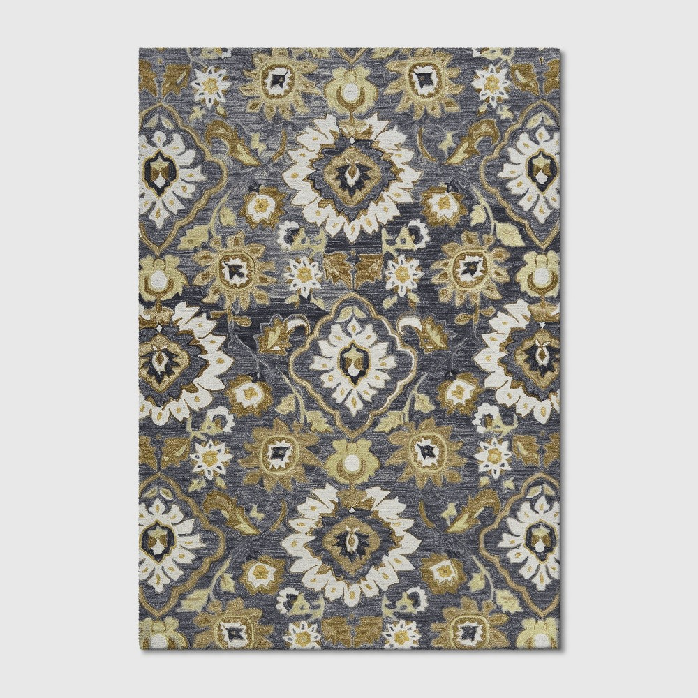 7'x10' Floral Tufted Area Rug Gray - Threshold