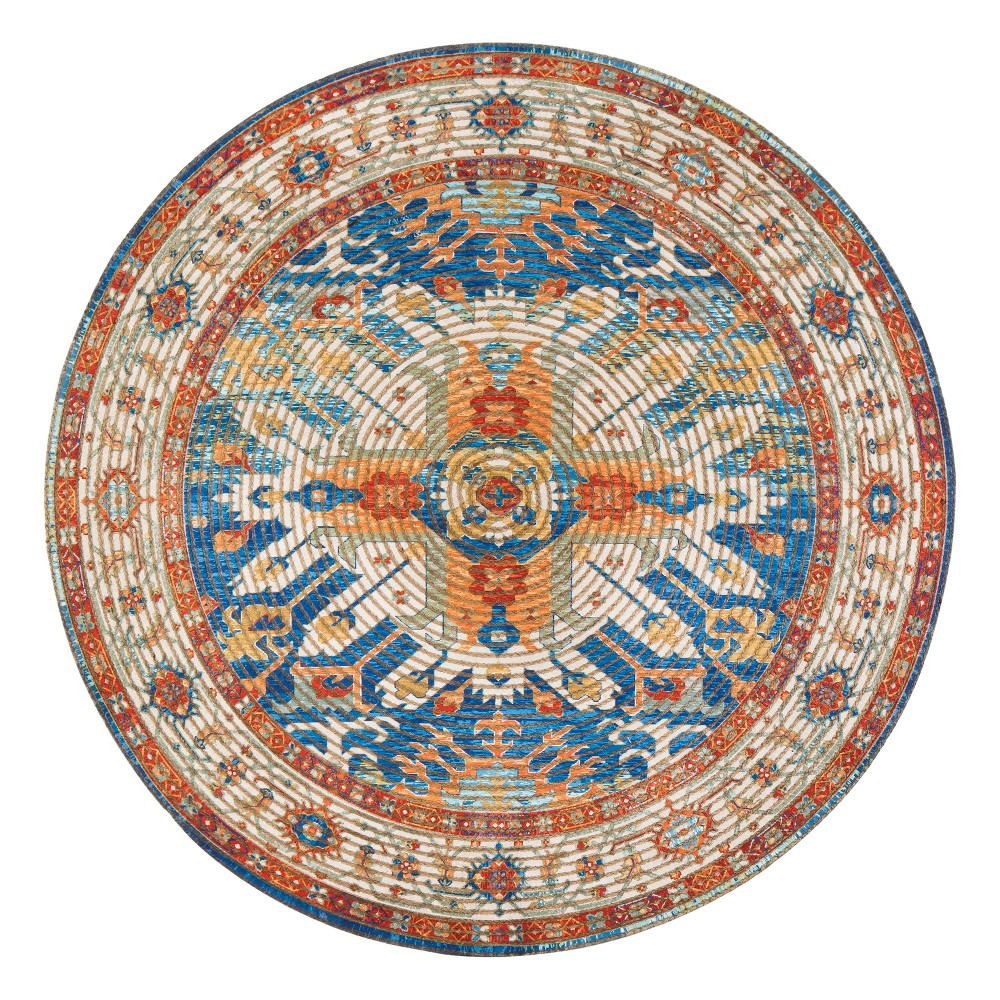 Image of 4' Braided Medallion Round Accent Rug - Anji Mountain, Multicolored