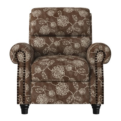 Rynn Bustle Back 2 Position Press-Back Recliner Chair Floral Chocolate Brown - ProLounger