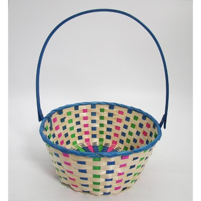 "11"" Bamboo Easter Basket Cool Colorway Blue with Pink Mix - Spritz™"