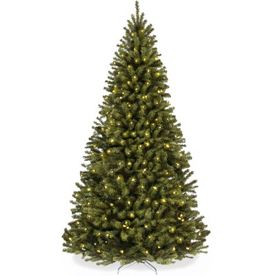 Best Choice Products Pre-Lit Spruce Hinged Artificial Christmas Tree w/ Incandescent Lights, Foldable Stand