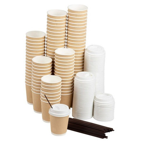 50-Pack Disposable Coffee Cups Sets, 8 Oz Paper Insulated Ripple Coffee Cups To Go with Lids & Stirring Straws, Natural Brown - image 1 of 4