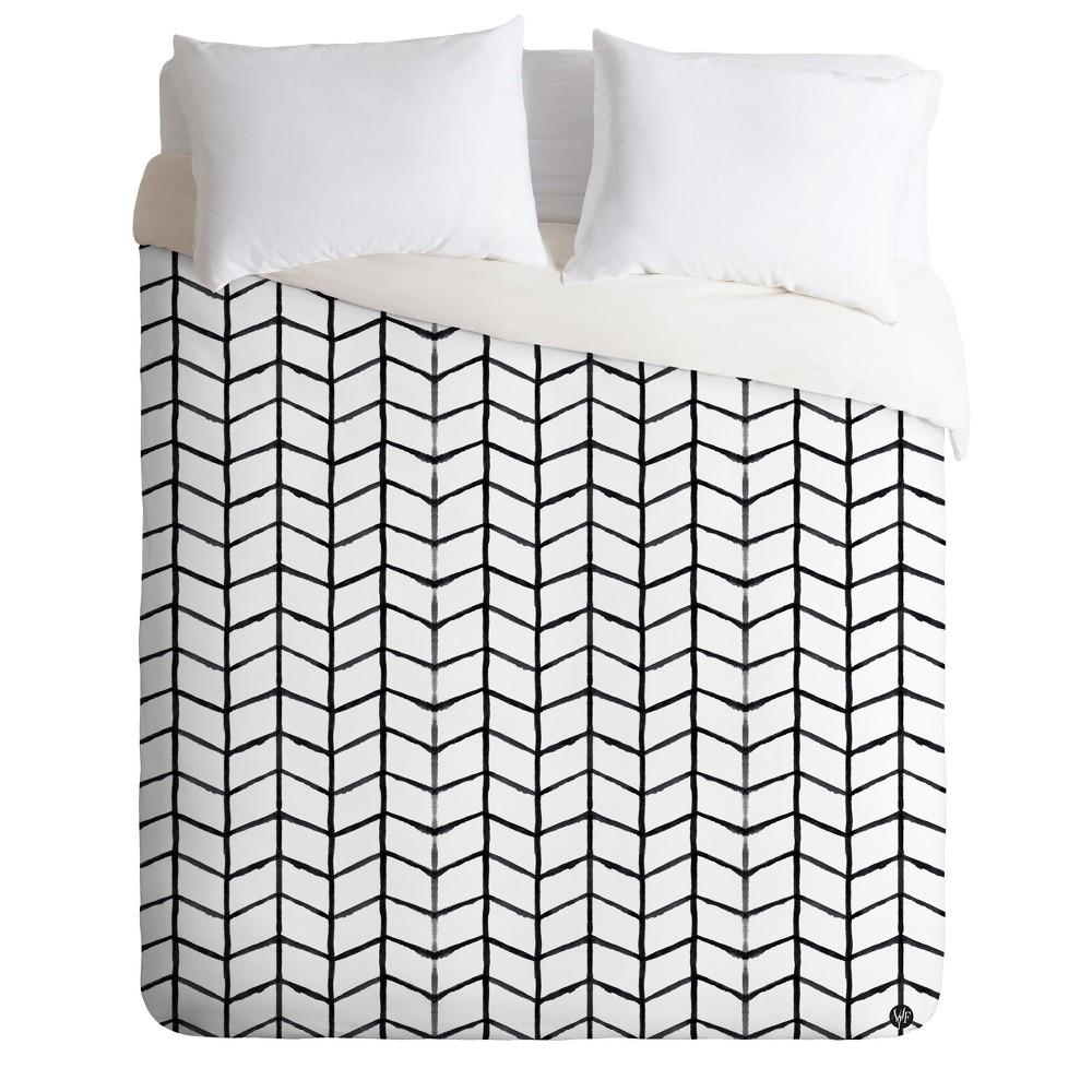 Black & White Geo Wonder Forest Grid Lock Duvet Cover (Twin) - Deny Designs, White Black