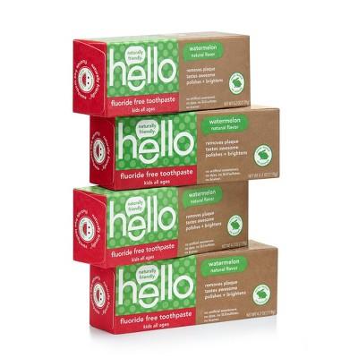 hello Kid's Fluoride Free Toothpaste SLS Free + Vegan Natural Watermelon - 4.2oz/4pk