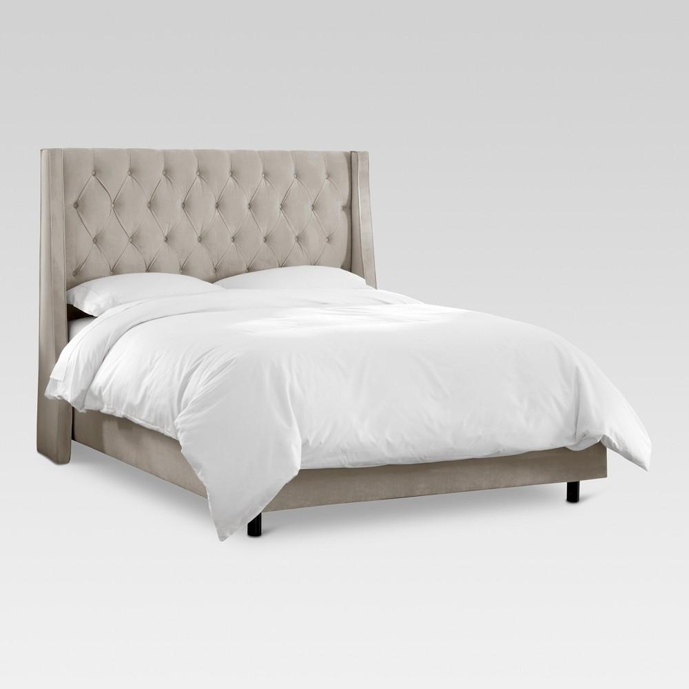 Gilford Tufted Wingback Bed - Queen - Velvet Light Gray - Threshold
