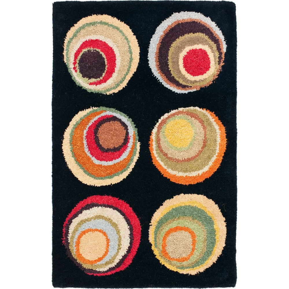 2'X3' Shapes Tufted Accent Rug Black - Safavieh, Black/Multi-Colored