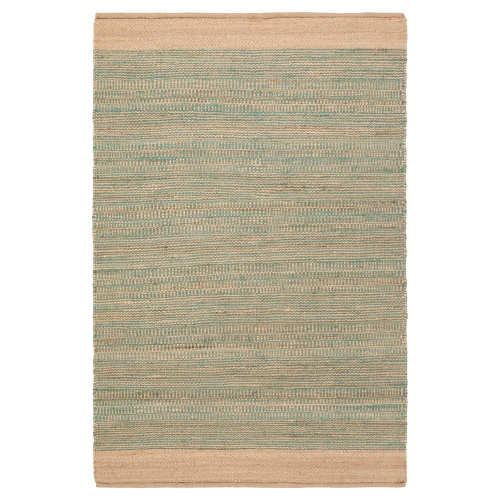 Teal (Blue) Solid Woven Accent Rug - (4'X6') - Surya
