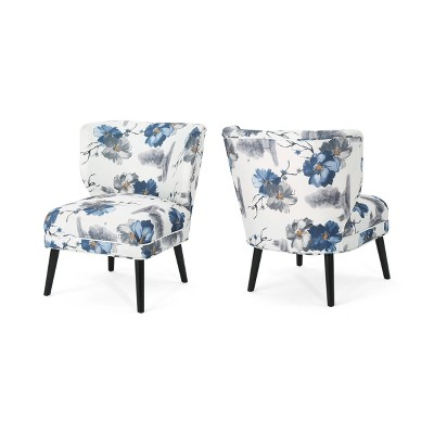 Set of 2 Desdemona Modern Farmhouse Accent Chair Blue - Christopher Knight Home