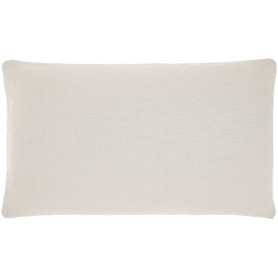 """14""""x24"""" Oversized Life Styles Solid Woven Cotton Lumbar Throw Pillow White - Mina Victory"""