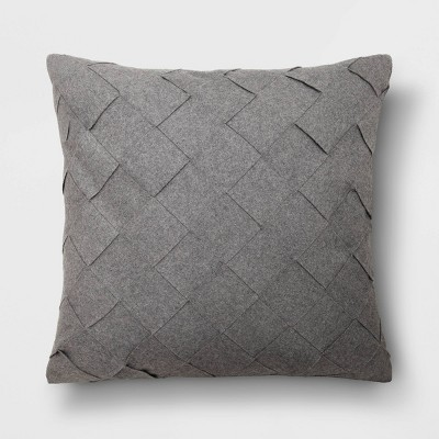 Oversized Basket Weave Square Throw Pillow Gray - Project 62™