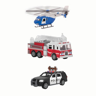DRIVEN – Small Toy Emergency Vehicle Set – Micro Rescue Fleet - 3 pk