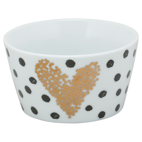 10 Strawberry Street® The Goodies Porcelain Bowls 18oz Polka Dots Gold - Set of 4 - image 1 of 1