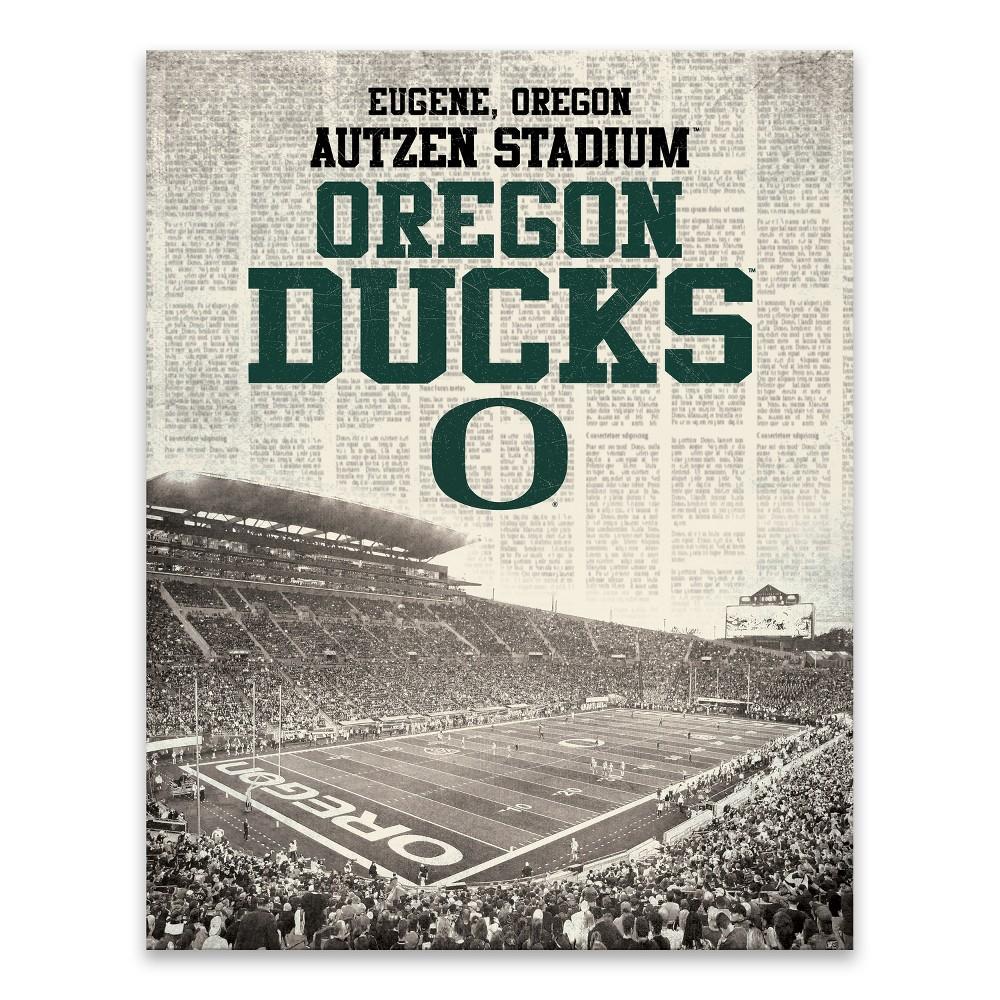 NCAA Oregon Ducks Newspaper Stadium Printed Canvas Art - 22x28