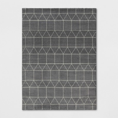 7'X10' Elle Linear Grid Woven Area Rug Charcoal Heather - Project 62™