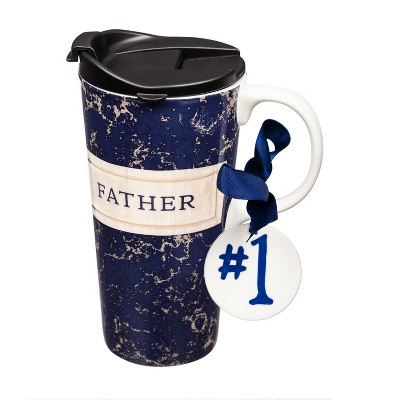 Cypress Home Beautiful Best Father Ever Ceramic Travel Cup with Tritan Lid, Mini Ornament and Matching Box - 4 x 5 x 7 Inches Indoor/Outdoor home goods For Kitchens, Parties and Homes