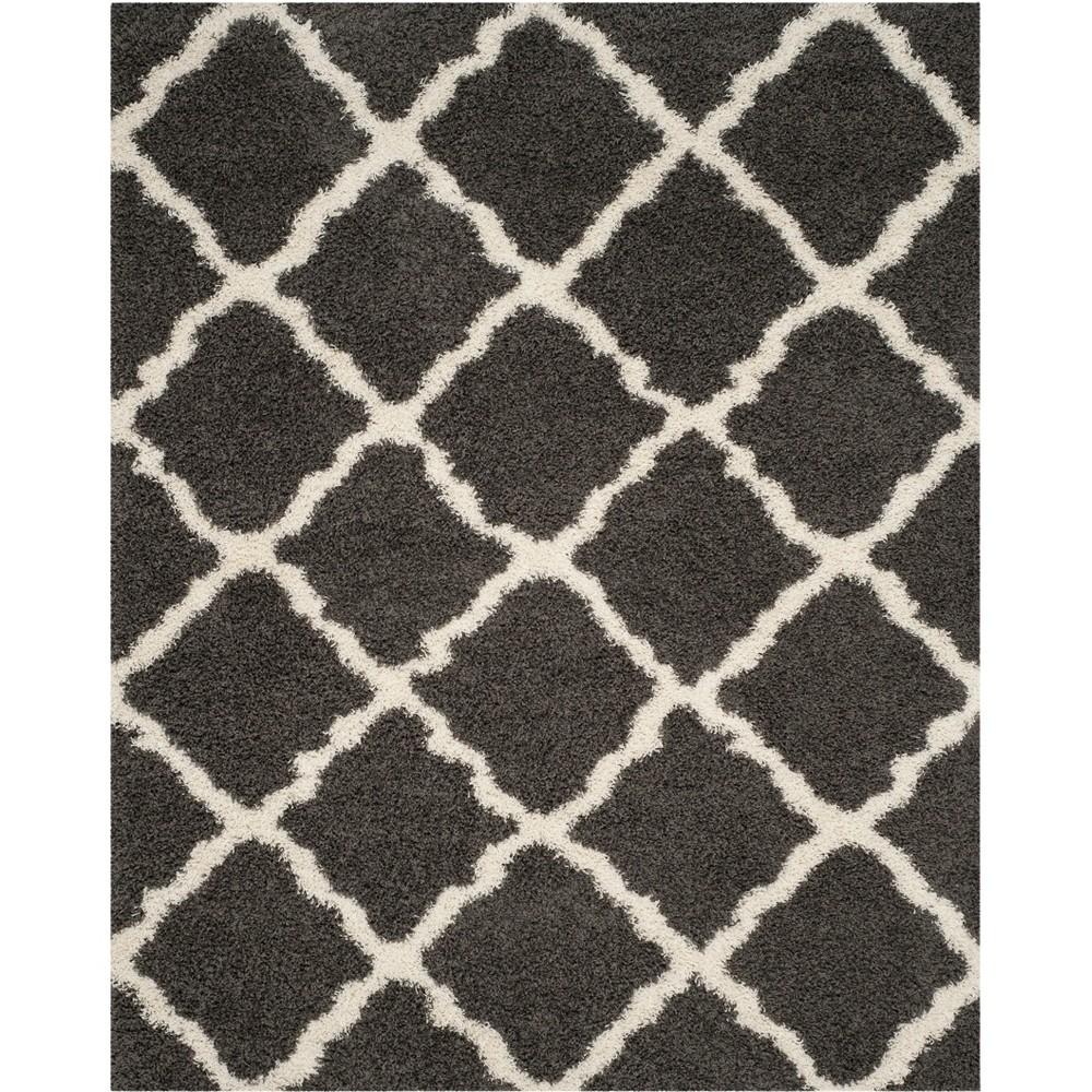 Quatrefoil Design Loomed Area Rug Dark Gray/Ivory