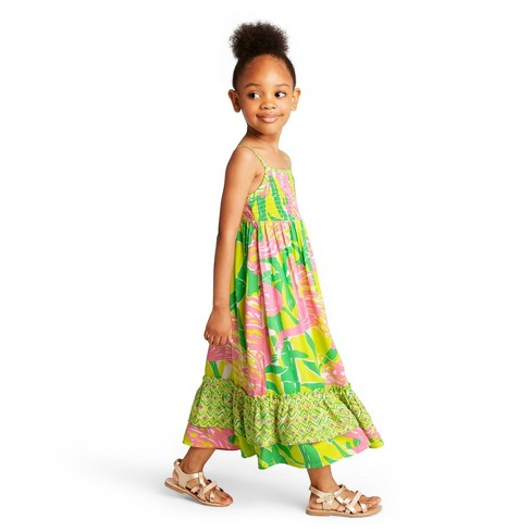 c11342b936e4f Toddler Girls' Fan Dance Sleeveless Square Neck Maxi Dress - Lilly Pulitzer  for Target Pink/Yellow