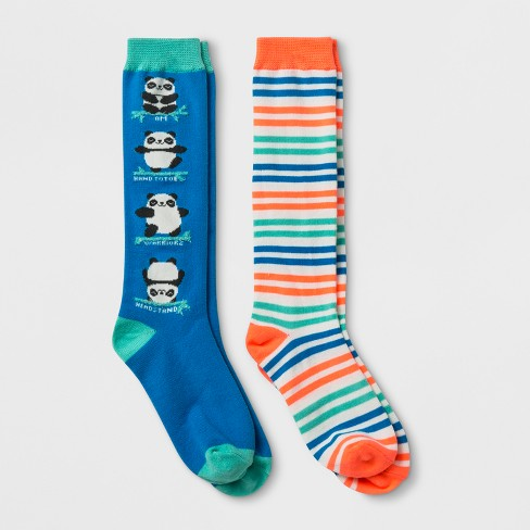 ee77574d917 Girls  2pk Yoga Panda Knee High Socks - Cat   Jack™ S   Target