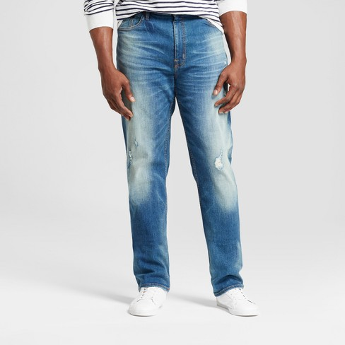 Men's Big & Tall Athletic Fit Destructed Jeans - Goodfellow & Co™ Medium Denim Wash - image 1 of 5