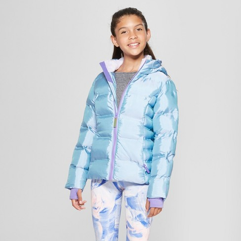 Girls' Iridescent Puffer Jacket - C9 Champion® Purple - image 1 of 3