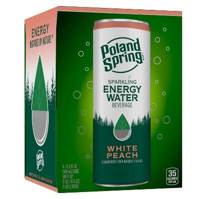Poland Spring White Peach Energy Water - 4pk/11.15 fl oz Sleek Can