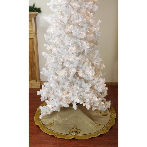 Allstate Floral 54 Royal Symphony Jeweled Fleur De Lis Gold Christmas Tree Skirt