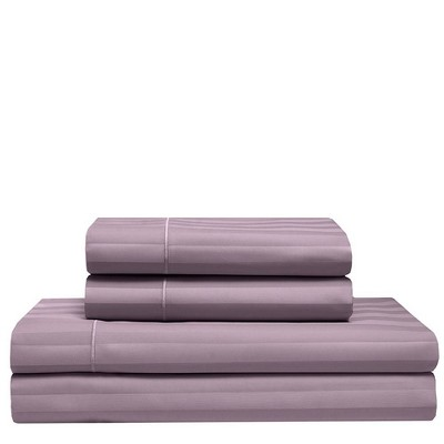 California King 525 Thread Count Satin Stripe Cooling Cotton Sheet Set Smokey Plum - Elite Home Products