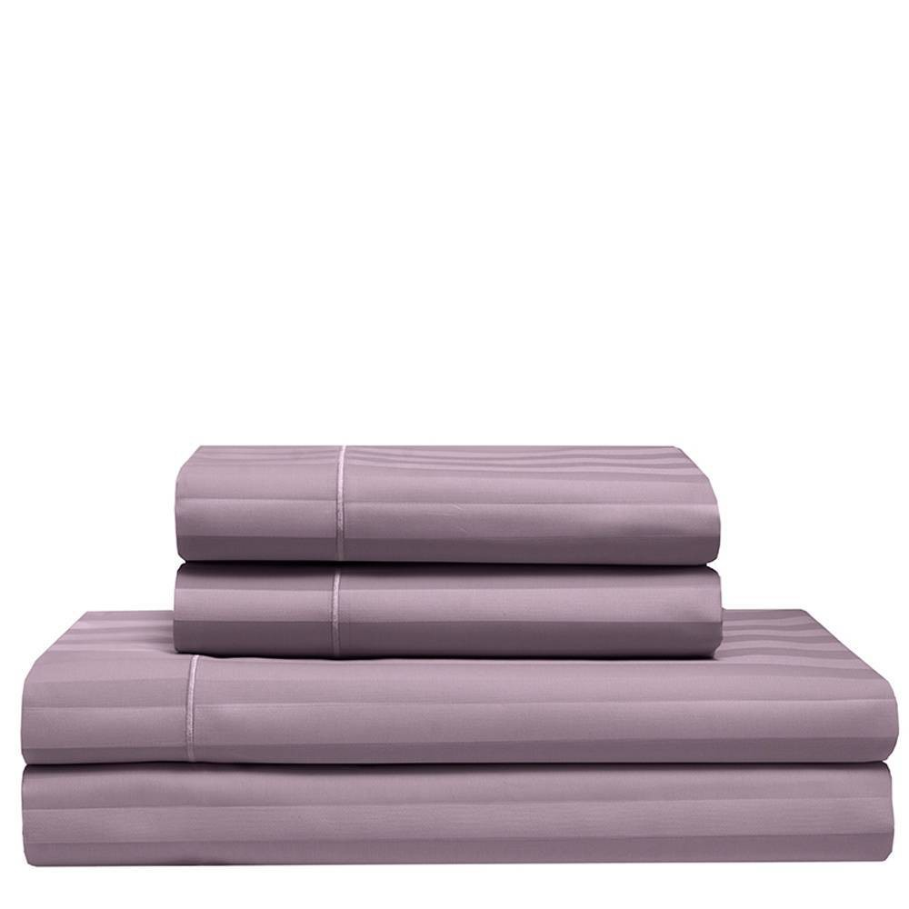 Image of California King 525 Thread Count Satin Stripe Cooling Cotton Sheet Set Smokey Plum - Elite Home Products